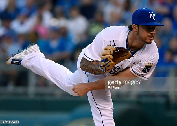 Brandon Finnegan of the Kansas City Royals pitches in the second inning against the Cleveland Indians at Kauffman Stadium on May 6 2015 in Kansas...