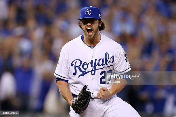 Brandon Finnegan of the Kansas City Royals reacts at the end of the tenth inning against the Oakland Athletics after during the American League Wild...
