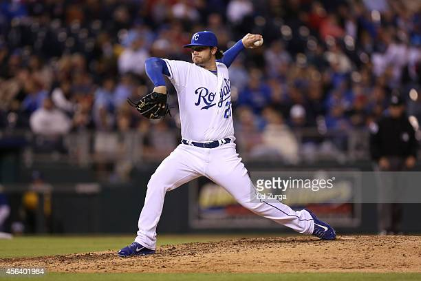 Brandon Finnegan of the Kansas City Royals throws during a game against the Boston Red Sox at Kauffman Stadium on September 13 2014 in Kansas City...