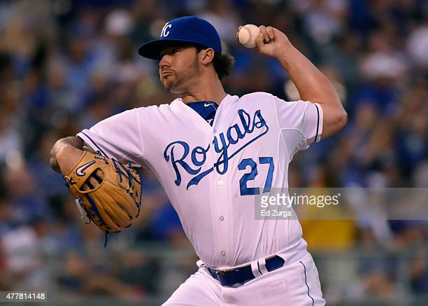Brandon Finnegan of the Kansas City Royals throws in the sixth inning against the Boston Red Sox at Kauffman Stadium on June 19 2015 in Kansas City...