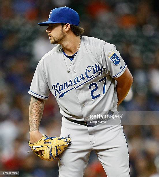 Brandon Finnegan of the Kansas City Royals throws in the third inning against the Houston Astros at Minute Maid Park on June 29 2015 in Houston Texas