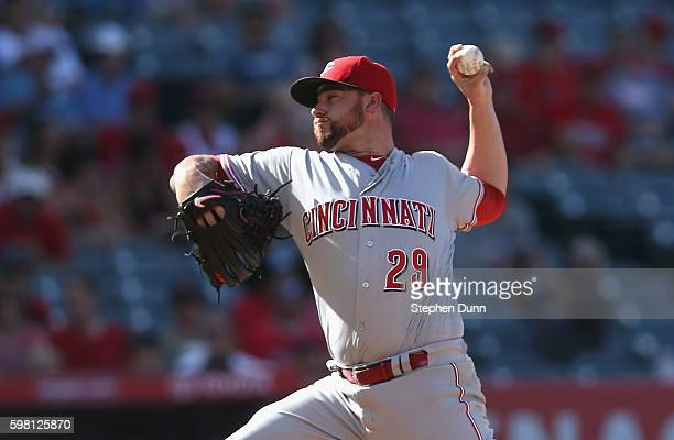 Brandon Finnegan of throws a pitch against the Cincinnati Reds the Los Angeles Angels of Anaheim at Angel Stadium of Anaheim on August 31 2016 in...