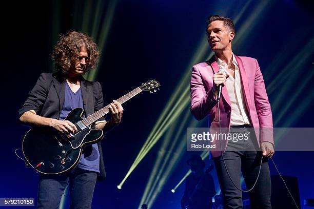 Brandon Flowers and Dave Keuning of The Killers perform at The Borgata Event Center on July 22 2016 in Atlantic City New Jersey
