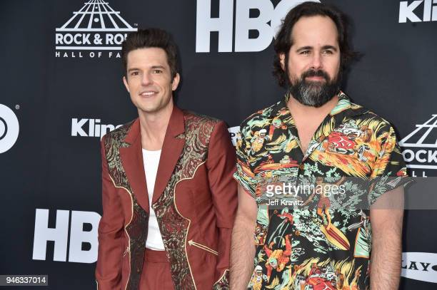 Brandon Flowers and Ronnie Vanneucci of The Killers attend the 33rd Annual Rock & Roll Hall of Fame Induction Ceremony at Public Auditorium on April...