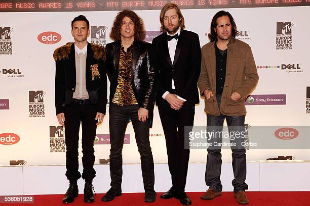 Brandon Flowers Dave Keuning Mark Stoermer Ronnie Vannucci Jr and of The Killers arrive on the red carpet at the MTV Europe Music Awards 2008