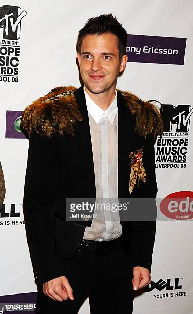 Brandon Flowers lead singer of The Killers arrives for the 2008 MTV Europe Music Awards held at at the Echo Arena on November 6 2008 in Liverpool...