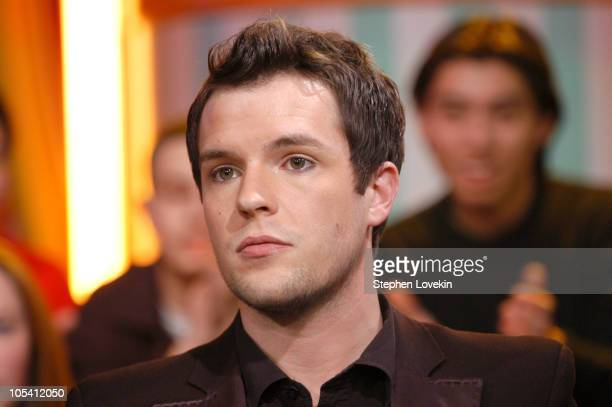 Brandon Flowers of The Killers during The Killers and Justin Long Visit MTV's 'TRL' January 18 2005 at MTV Studios in New York City New York United...