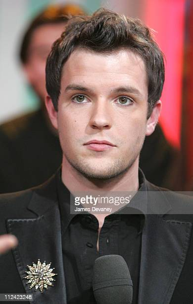 Brandon Flowers of The Killers during The Killers and Justin Long Visit MTV's 'TRL' January 18 2005 at MTV Studios Times Square in New York City New...