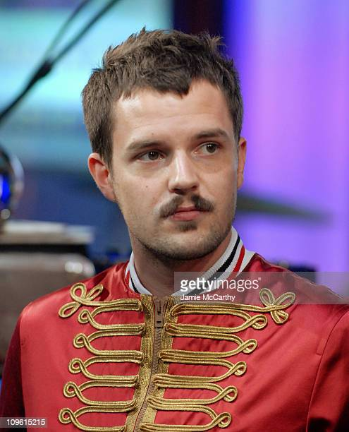 Brandon Flowers of The Killers during The Killers Ludacris AFI Billy Bob Thornton and Jon Heder Visit MTV's 'TRL' September 26 2006 at MTV Studios in...