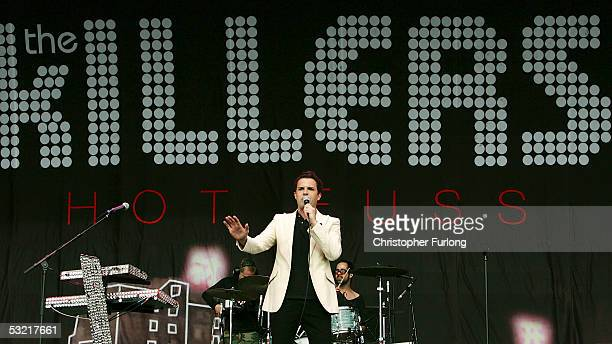 Brandon Flowers of The Killers performs at T In The Park 2005 at Balado on July 9 2005 at Kinross Scotland