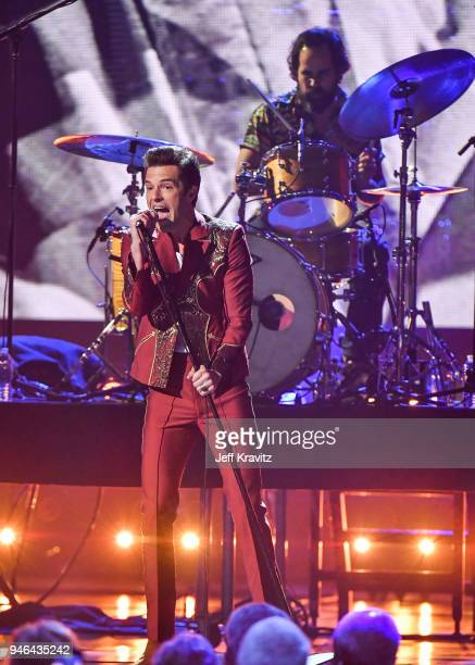 Brandon Flowers of the Killers performs during the 33rd Annual Rock Roll Hall of Fame Induction Ceremony at Public Auditorium on April 14 2018 in...