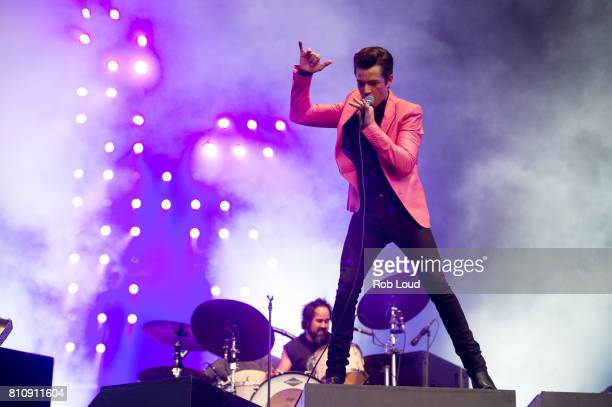 Brandon Flowers of The Killers performs on Day 5 of Barclaycard presents British Summer Time in Hyde Park on July 8 2017 in London England