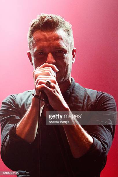 Brandon Flowers of The Killers performs on stage at O2 Academy on August 17, 2012 in Leeds, United Kingdom.