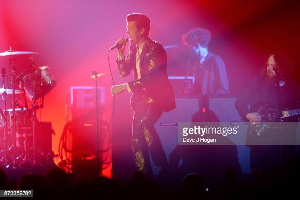 Brandon Flowers of The Killers performs on stage during the MTV EMAs 2017 held at The SSE Arena Wembley on November 12 2017 in London England