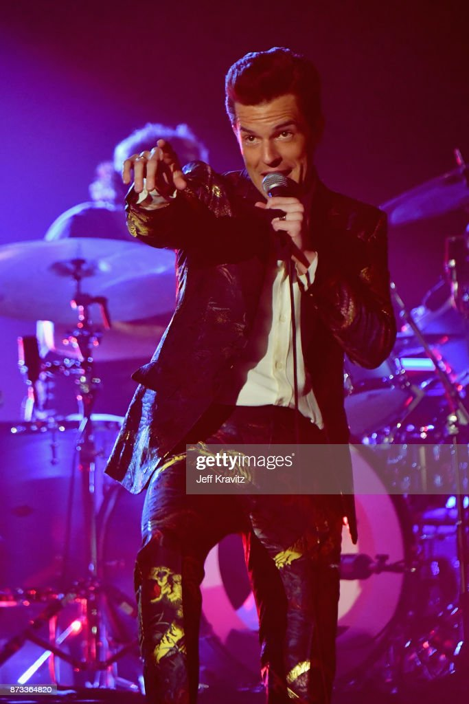 Brandon Flowers of The Killers performs on stage during the MTV EMAs 2017 held at The SSE Arena, Wembley on November 12, 2017 in London, England.