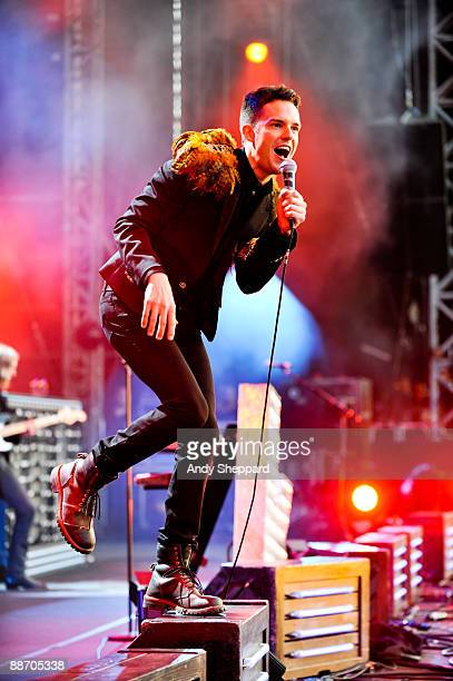Brandon Flowers of The Killers performs on stage on day 1 of Hard Rock Calling at Hyde Park on June 26 2009 in London England