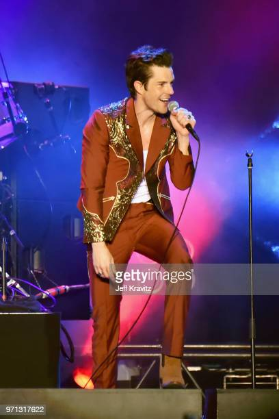 Brandon Flowers of The Killers performs on What Stage during day 4 of the 2018 Bonnaroo Arts And Music Festival on June 10 2018 in Manchester...