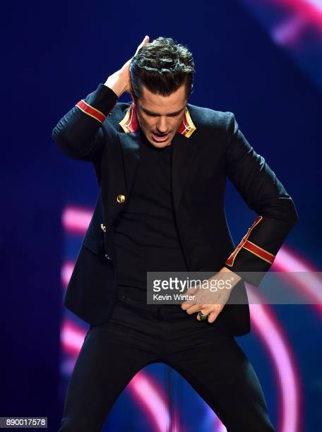 Brandon Flowers of The Killers performs onstage during KROQ Almost Acoustic Christmas 2017 at The Forum on December 10 2017 in Inglewood California