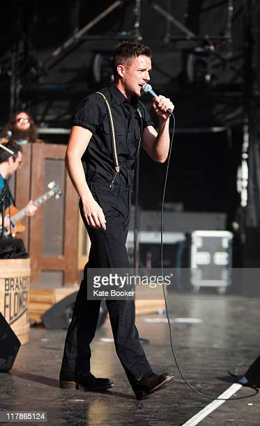 Brandon Flowers performs at The Hop Farm Music Festival on July 1, 2011 in Paddock Wood, United Kingdom.