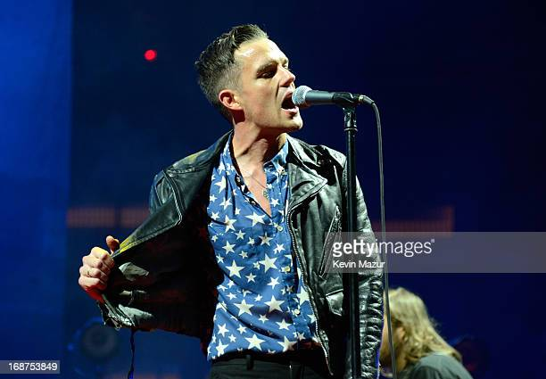 Brandon Flowers performs during The Killers 'Battle Born' tour at Madison Square Garden on May 14 2013 in New York City
