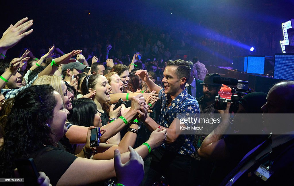 Brandon Flowers performs during The Killers 'Battle Born' tour at Madison Square Garden on May 14, 2013 in New York City.