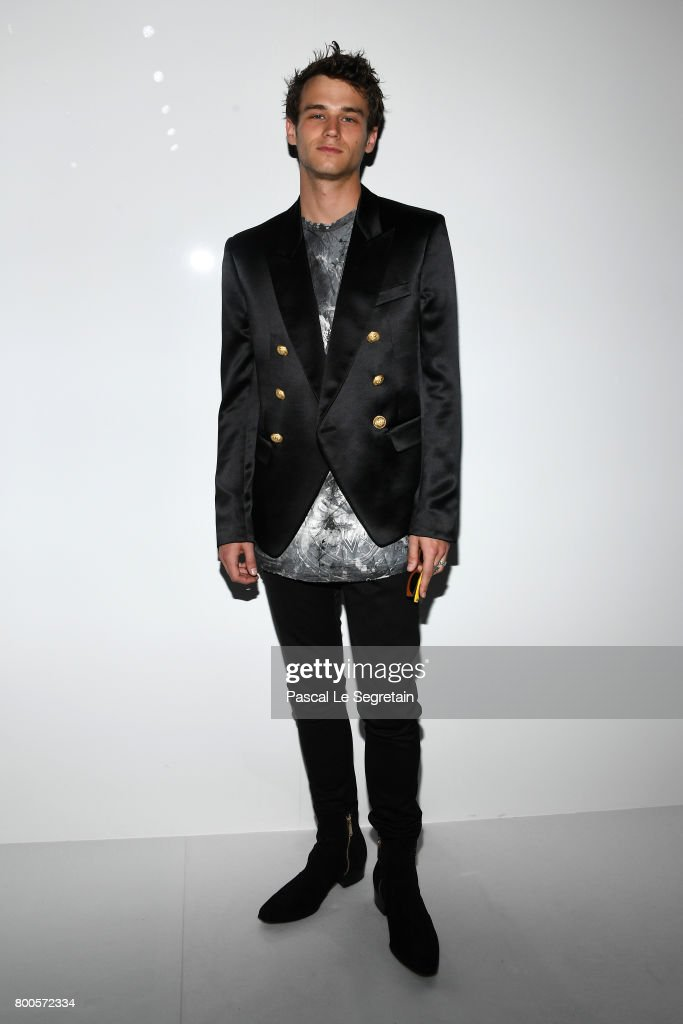 Brandon Flynn attends the Balmain Menswear Spring/Summer 2018 show as part of Paris Fashion Week on June 24, 2017 in Paris, France.