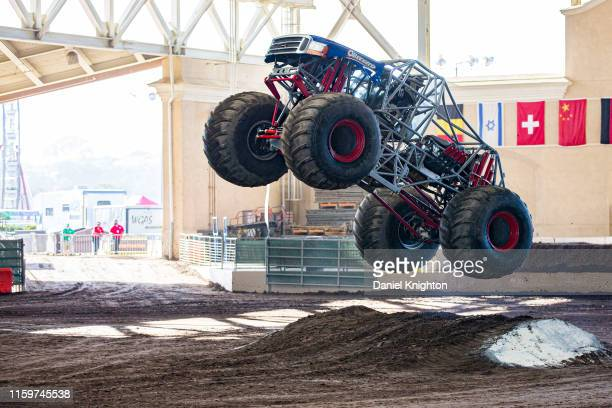 Brandon Gallie gives a demonstration in his Monster Truck Wicked Strong at San Diego County Fair on July 02 2019 in Del Mar California