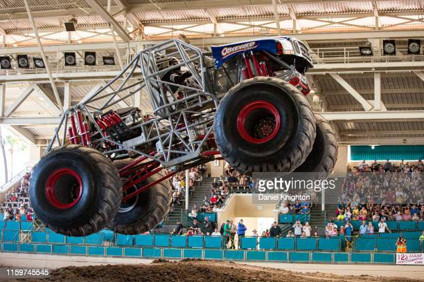 """Brandon Gallie gives a demonstration in his Monster Truck """"Wicked Strong"""" at San Diego County Fair on July 02, 2019 in Del Mar, California."""