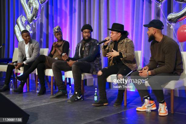 Brandon Gonez Esie Mensah Femi Lawson Kiana Eastmond and Jamal Burger attend the 5th Annual Black Arts Innovation Expo at Toronto's Arcadian Court on...