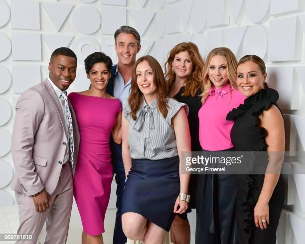 Brandon Gonez,Anne-Marie Mediwake, Ben Mulroney, Michelle Crespi,Lindsey Deluce,Kelsey McEwen and Melissa Grelo pose at the CTV Upfronts portrait...