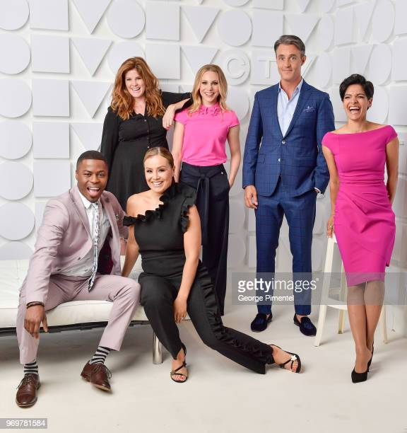 Brandon GonezLindsey Deluce Melissa Grelo Kelsey McEwen Ben Mulroney and AnneMarie Mediwake pose at the CTV Upfronts portrait studio held at the Sony...