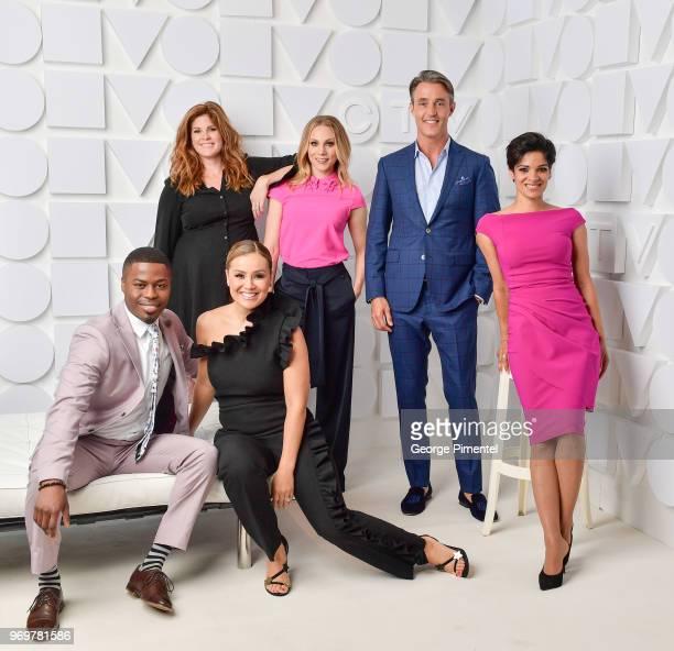 Brandon Gonez,Lindsey Deluce, Melissa Grelo, Kelsey McEwen, Ben Mulroney and Anne-Marie Mediwake pose at the CTV Upfronts portrait studio held at the...
