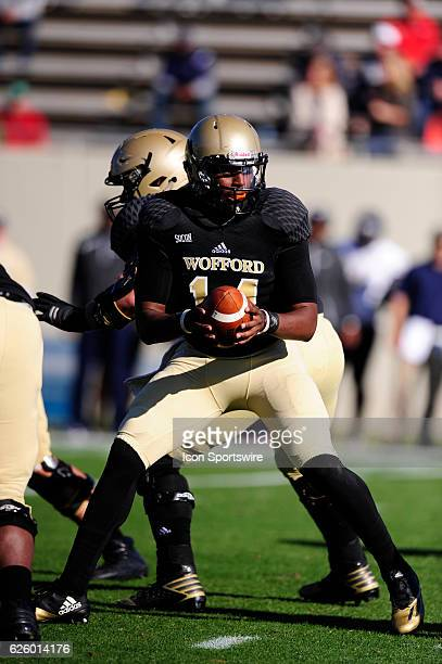 Brandon Goodson quarterback Wofford College Terriers prepares to hand the football off against the Charleston Southern University Buccaneers in the...
