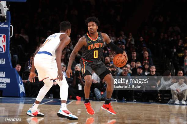Brandon Goodwin of the Atlanta Hawks handles the ball against the New York Knicks during a preseason game on October 16 2019 at Madison Square Garden...