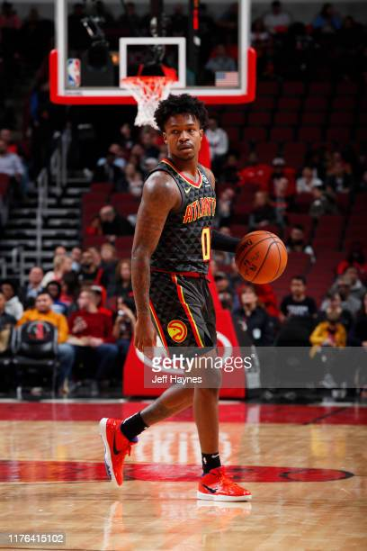 Brandon Goodwin of the Atlanta Hawks handles the ball against the Chicago Bulls during a preseason game on October 17 2019 at United Center in...