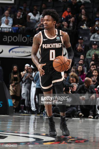Brandon Goodwin of the Atlanta Hawks handles the ball against the Brooklyn Nets on January 12 2020 at Barclays Center in Brooklyn New York NOTE TO...