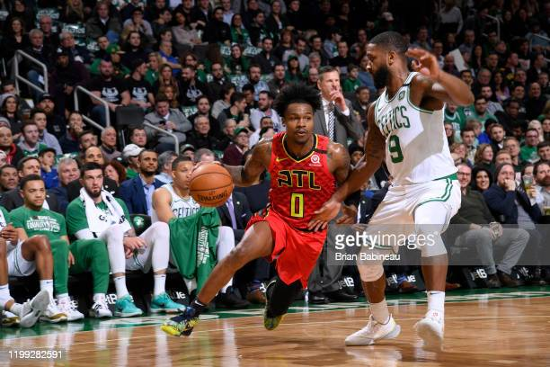 Brandon Goodwin of the Atlanta Hawks handles the ball during a game against the Boston Celtics on February 7 2020 at the TD Garden in Boston...