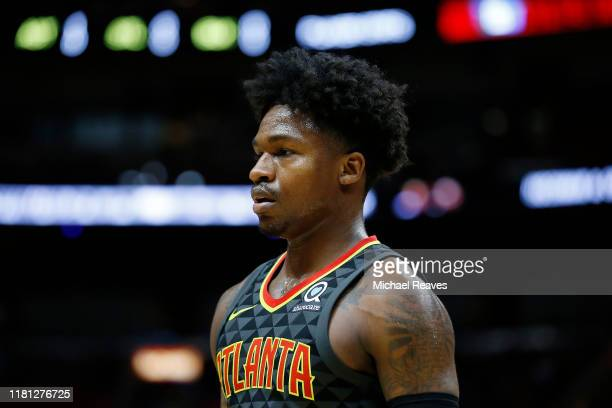 Brandon Goodwin of the Atlanta Hawks looks on against the Miami Heat during the second half of the preseason game at American Airlines Arena on...