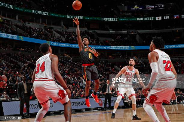 Brandon Goodwin of the Atlanta Hawks shoots the ball against the Chicago Bulls during a preseason game on October 17 2019 at United Center in Chicago...