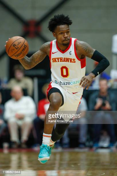 Brandon Goodwin of the College Park Skyhawks brings the ball up court against the Grand Rapids Drive during the first half of an NBA GLeague game on...