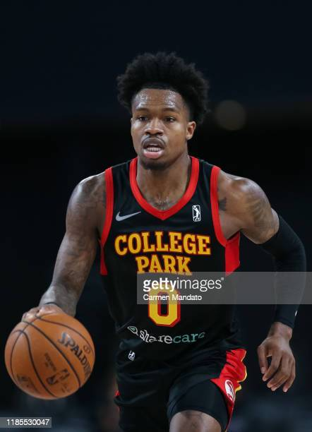 Brandon Goodwin of the College Park Skyhawks dribbles the ball during the third quarter of an NBA GLeague game against the Canton Charge on November...
