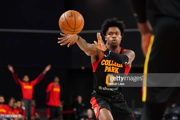 Brandon Goodwin of the College Park Skyhawks makes a pass during the first quarter of an NBA GLeague game on December 3 2019 at The Gateway Center...
