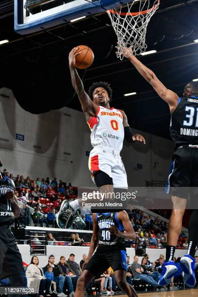 Brandon Goodwin of the College Park Skyhawks shoots against the Lakeland Magic during the game on November 15 2019 at RP Funding Center in Lakeland...