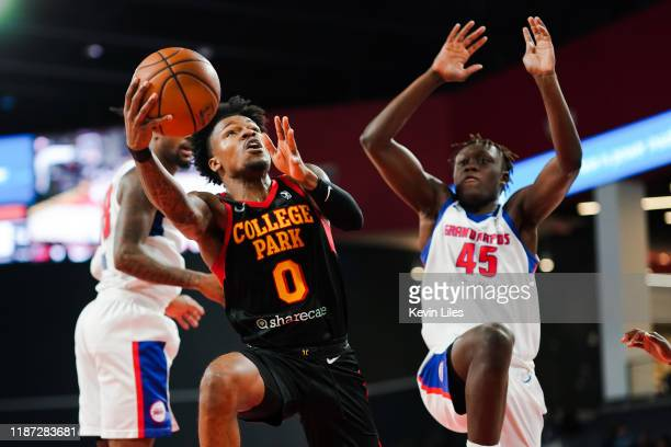 Brandon Goodwin of the College Park Skyhawks shoots over Sekou Doumbouya of the Grand Rapids Drive during the fourth quarter an NBA GLeague game on...