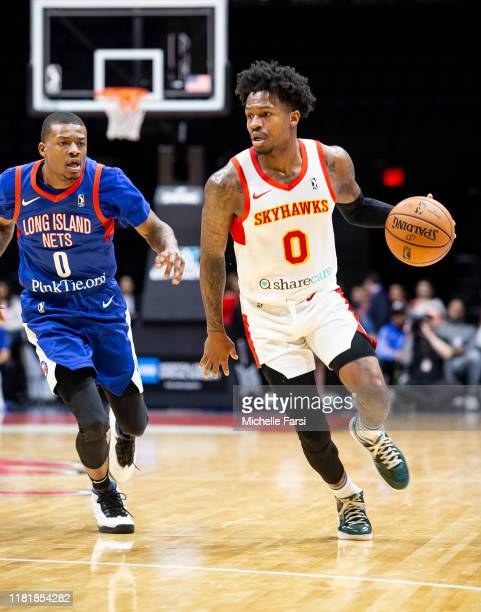 Brandon Goodwin of the College Park Skyhawks v Jahmal McMurray of the Long Island Nets during an NBA GLeague game on November 11 2019 at NYCB Live...