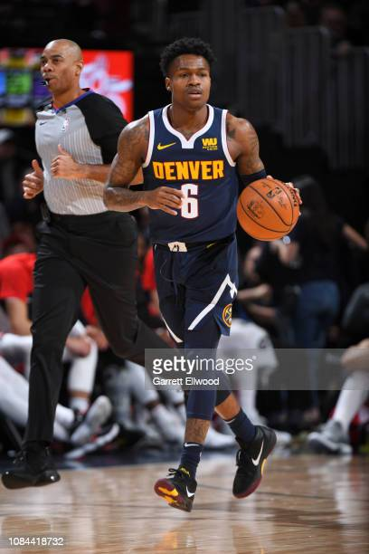 Brandon Goodwin of the Denver Nuggets handles the ball against the Chicago Bulls on January 17 2019 at the Pepsi Center in Denver Colorado NOTE TO...