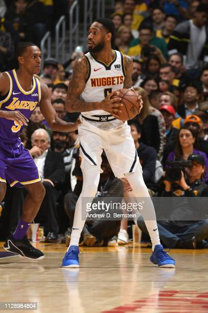 Brandon Goodwin of the Denver Nuggets handles the ball against the Los Angeles Lakers on March 6 2019 at STAPLES Center in Los Angeles California...