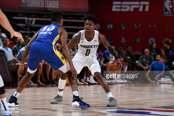 Brandon Goodwin of the Denver Nuggets handles the ball against the Golden State Warriors on July 10 2019 at the Thomas Mack Center in Las Vegas...