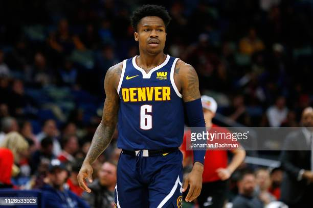 Brandon Goodwin of the Denver Nuggets reacts during a game against the New Orleans Pelicans at the Smoothie King Center on January 30 2019 in New...