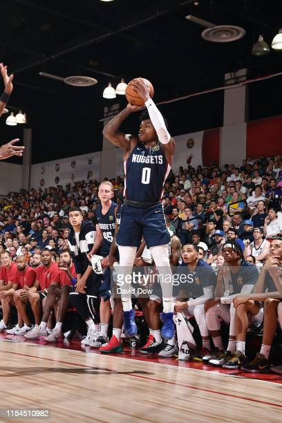 Brandon Goodwin of the Denver Nuggets shoots a three point basket during the game against the Orlando Magic during Day 3 of the 2019 Las Vegas Summer...